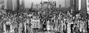"""THEN: Revelers pose on the Masonic Temple stage for """"A Night in Old Alexandria,"""" the Seattle Fine Art Societies annual costume ball for 1921. (Pic courtesy of Arthur """"Link"""" Lingenbrink)"""
