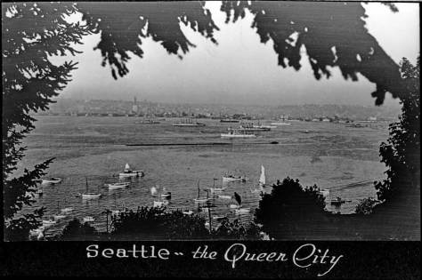 """Another proud page from a Lingenbrink album.  How many blog readers remember that the """"Emerald City"""" - if they are still calling it that - was once """"thei Queen City.""""  I remember it as the Queen as late as in the 1970s."""