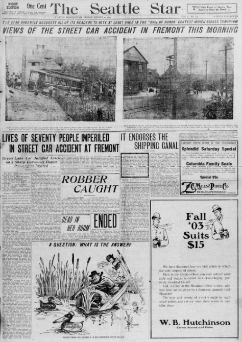 Front page for The Seattle Sun, Aug. 21, 1903 with news of the Edgewater/Fremont upset.