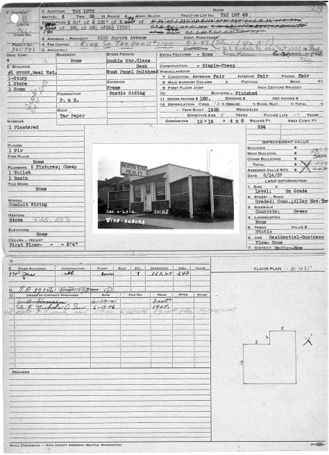 The Washington State Archive (Bellevue Community College Branch) tax card for King County structure 1937 and on.