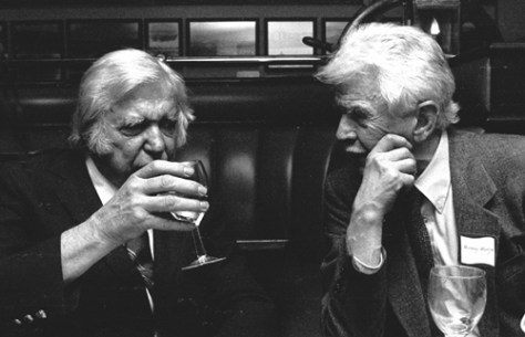 Left and right, Emmett Watson and Murray Morgan at the then new Acres of Clams preview in 1987.