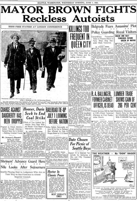 """Front page notice of past mayor Ballinger gets small mention below current Mayor Browns fight with """"reckless autoists.""""   (Seattle Times, June 7, 1922)"""