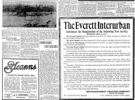 "The historical photographs original use in The Times for June 14, 1911.  Curiously the surrounding text is preoccupied with other ""Charmed Land"" subject.  Perhaps the Lake Ballinger illustration was used to compliment the paid for advertisement, bottom-right.  It is a promotion for the Everett Interurban.  Both it and Aurora appears in the 1936 aerial featured below the main text."