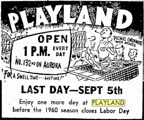 ST 9-2-60 Last Day - sept 5th 1960 playland