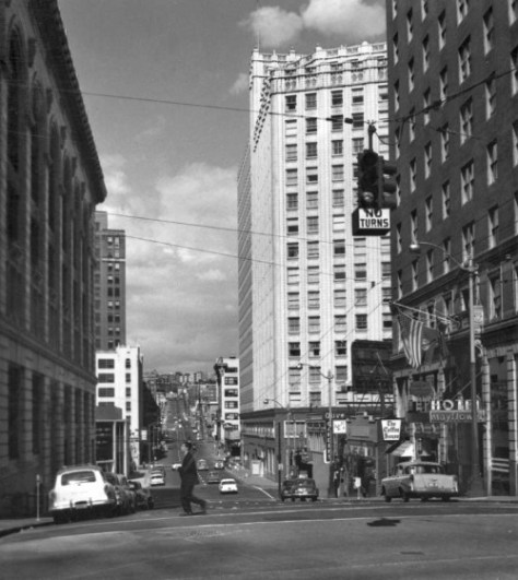 Looking east on Olive from 4th Avenue in 1956.  The Mayflower Hotel is on the right and the Times Building on the left.  By this time the newspaper had long since moved from this its 1916 plant to its 1930 plant on Fairview Ave. in the Cascade neighborhood, which is still the newspaper's home.