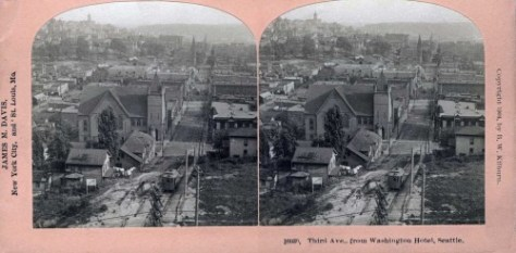 A published stereo dated 1904 and taken nearer to Jean's prospect when considered not for elevation but the east-west figuring of it, and still somewhere near the front door of the by then renamed Washington Hotel.   Notes the one-block-long counterbalance that carried guests to the hotel up from Pine Street.