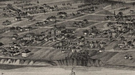 A detail from the 1884 birdseye of Seattle gives mostest expression to the verdant habitat of the Belltown Ravine.  It does not extend the ravine east to First Avenue (which the Ravine itself did manage to reach).  The birdseye also shows the row of structures at the northwest corner of Front (First) and Bell, which, we hope, are meant to depict the homes showing in the principal subject, above.