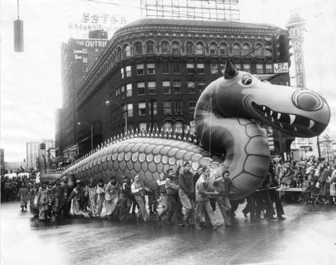 Another and nearby inflatable aka Soft Sculpture  from the 1955 Christmas Parade.  (Thanks to Ron Edge and his holiday's collection)