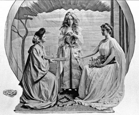 "Probably the most viewed and best remembered women of the fair were three three, and the many ""spin-offs"" that followed their pose here for the ""three graces"" symbol of the AYPE.  Here they hold objects that represent shipping, prospecting or mining and railroading."