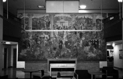 The University of a 1000 Years mural in its ca. 1992 setting.