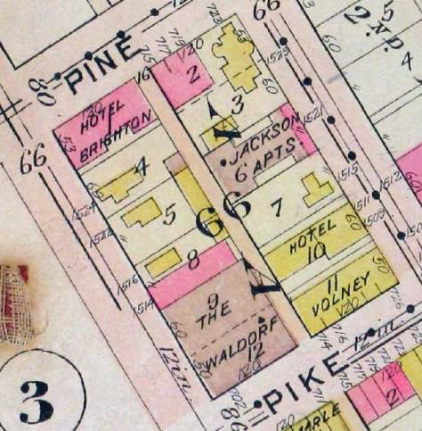 The 66th Block at colorfully recorded on the old faithful 1912 Baist Real Estate Map.