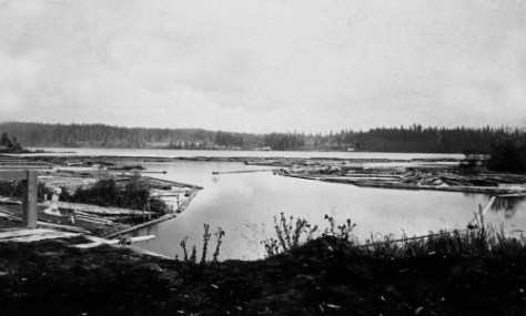Looking north from Montlake to the mill Town of Yesler on the north shore of Union Bay. (Courtesy University of Washington Libraries, Special Collections.)