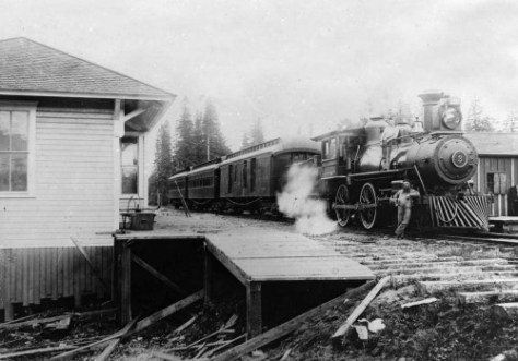 The station and spur leading from the main line of the Seattle Lake Shore and Eastern RR to the Town of Yesler and its mill.