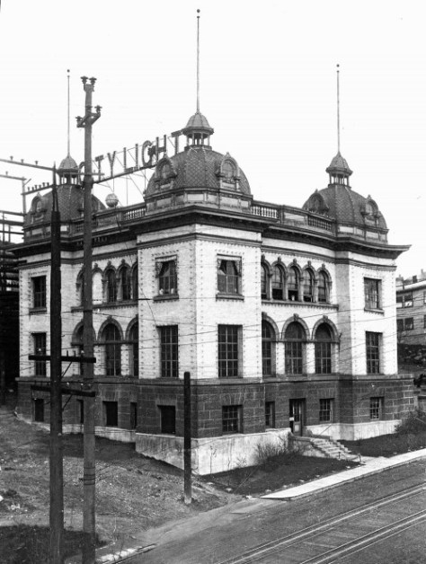 SEATTLE CITY LIGHT'S Yesler Way substation on the north side of the street at 7th Avenue.  (Courtesy Lawton Gowey)