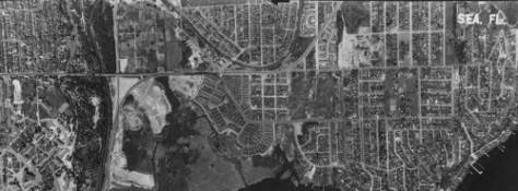 We have cut the borders of this detail from the 1952 aerial to conform to those in the 1912 Baist Map inserted three subjects up.
