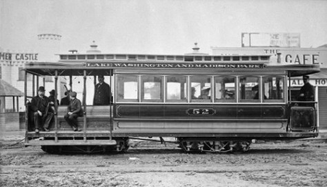 "A detail of Madison's ""castle"" appears as backdrop to this ca.1900 portrait of a cable car. (Courtesy, Lawton Gowey)"