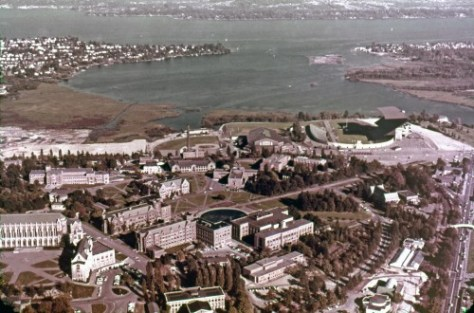 Ellis aerial of U.W. Campus and Union Bay