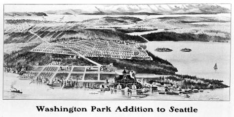 An early 20th Century birdseye sketch promoting Washington Park, but showing the primary landmarks then of Madison Park.