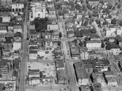Another detail from the 1950 aerial shared by Ron Edge, this time for finding the fire station.