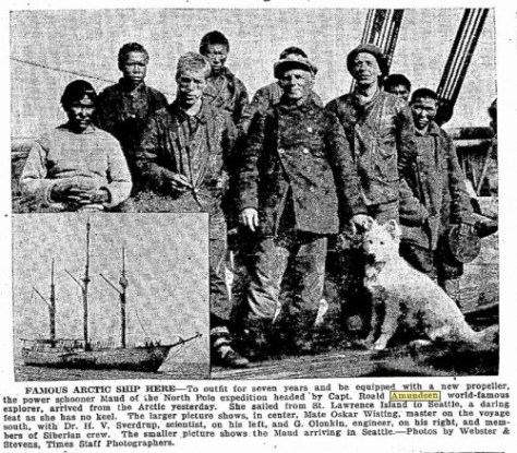 An earlier record of the Maud crew as was heading to Seattle for repairs and renewal.  (9-1-1921)