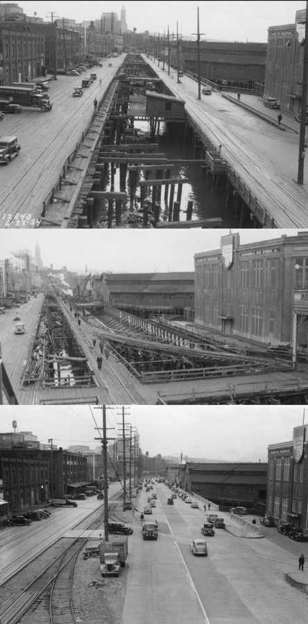 Seawall construction looking north from Lenora in 1934, 35 and 36.  (Courtesy, Municipal Archive)