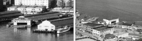 A detail from the above aerial showing the Gorst hanger at the outer end of Pier 3/54, next door to the Grand Truck wharf.