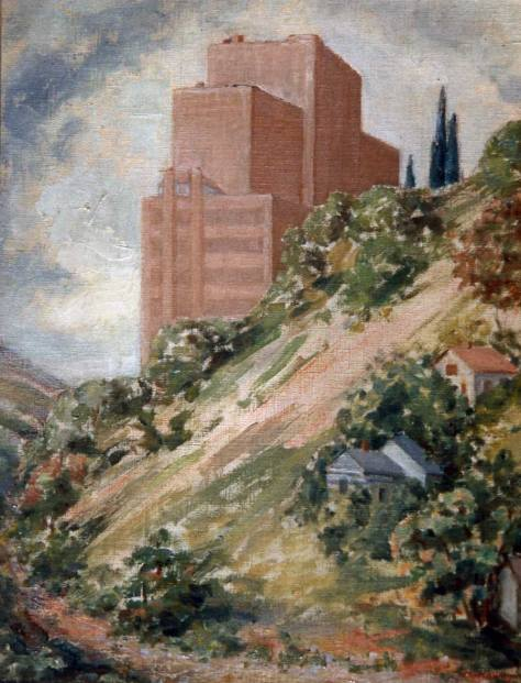 Artist Myra A. Wiggins impression of the new Marine Hospital looming above the Beacon Hill greenbelt.