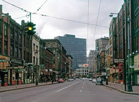 THEN: Frank Shaw's pre-preservation visit to First Avenue South on February 26, 1961. He looks north from Main Street. (photo by Frank Shaw)