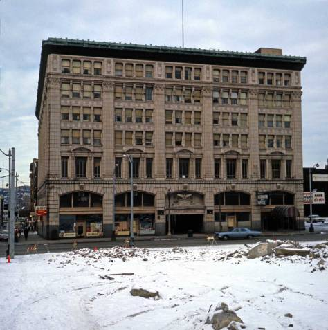 Frank Shaw's unique look to the Eagle Auditorium in 1978 thru the wreckage of southeast corner of 7th and Union.