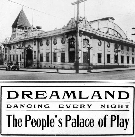The Dreamland dance hall at the northeast corner of Seventh Ave. and Union Street with the First Unitarians behind it.  Both were razed for the Eagles Auditorium.