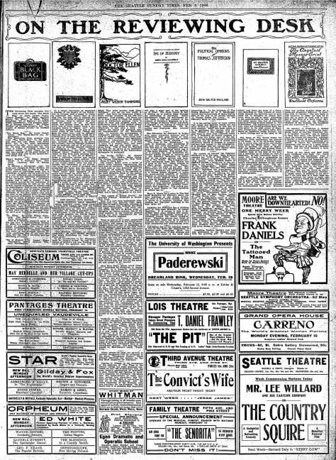 Full-page from the Feb. 9, 1908 Seattle Times, featuring some book reviews of the time, as well as