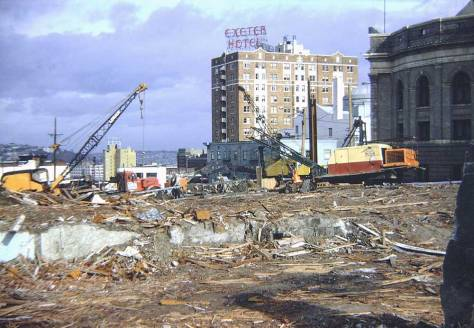 From Madison Street, Frank Shaw's 1963 look thru the rubble that was contributed by the hotels, including the Knickerbocher,  along the north side of Madison Street.