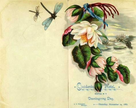 The OCCIDENTAL  HOTEL's Thanksgiving menu for 1887.