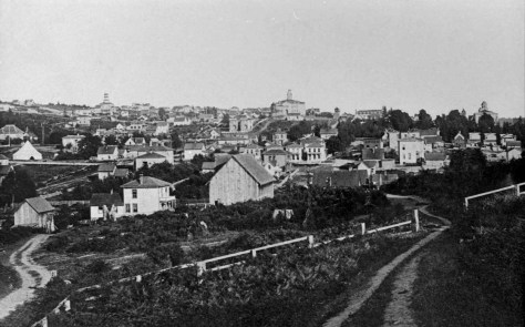 Looking south thru the future Virginia Street on what is close to the future Fifth Avenue ca. 1886 - long before the regrading of Denny Hill.