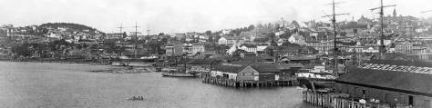 "North along the waterfront before the city's ""Great Fire of 1889,"" taken from the end of the King Street Coal Wharf."