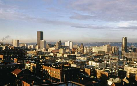 The central business district from Capitol Hill in 1968/9.  The SeaFirst Tower, on the left, opened in 1968, and the Washington Plaza Hotel, here not yet completed, in the mid-summer of 1960.  On the right, the view looks west in line with Stewart Street from the photographer Robert Bradley's apartment high in the Lamplighter on Belmont Avenue.