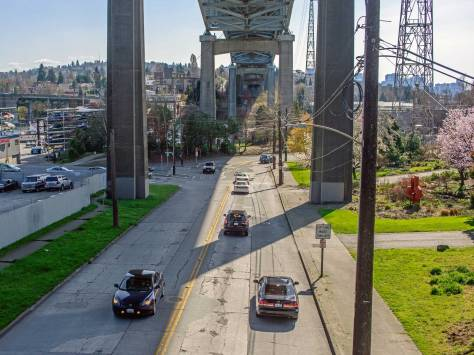 NOW: The Lake Washington Ship Canal Bridge, constructed in the early 1960s, scattered whatever appeal the old strip on Sixth Ave. NE. might have still had for business.