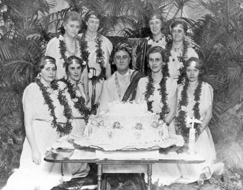 FDR - and everyone - still in white for an undated White House Tunic Party.  Once they were popular - when Latin was still taught regularly in public schools.