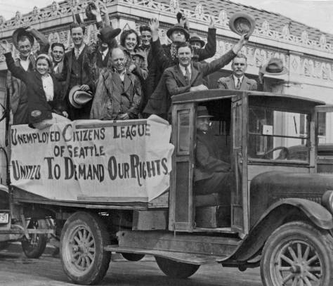A parading truck load of UCL members giving a sense of gang fun.     [Courtesy, Northwest Collection, University of Washington Libraries]