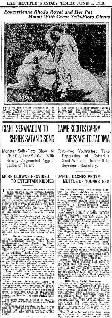 A Seattle Times clip on the June 1, 1913 visit of the Sells-Floto Circus to Seattle.