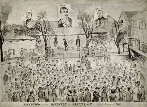 THEN: Local candy-maker A.W. Piper was celebrated here for his crème cakes and wedding cakes and also his cartoons.  This sketch is of the 1882 lynching from the Maple trees beside Henry and Sara Yesler's home on James Street.  Piper's bakery was nearby (Courtesy, Ron Edge)