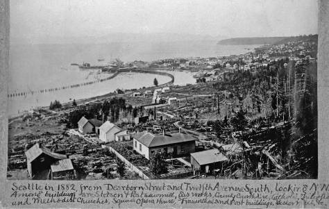 Watklin's 1882 panorama of Seattle from Beacon Hill, as it is framed and explained on a page of Prosch's picture album of pioneer Seattle preserved in the University of Washington's Northwest Collection.