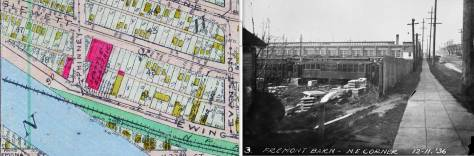 Also for comparison, the featured photograph from 1936 set beside a detail from the 1912 Baist Real Estate Map.  The trolley is aglow in red.