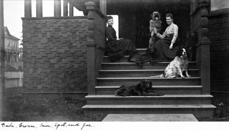 The album's caption names the dogs on the Lowman's front porch but not the women.