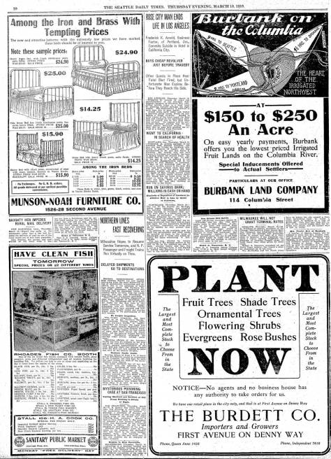 A page from The Seattle Times for March 10, 1910, which includes an advertisement for The Burdett Company nursery that was across First Ave. North from the Regent's front door.  The detail from the 1912  Baist Map printed above reveals that this business filled most of the block north to John Street.