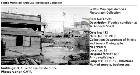 A Seattle Municipal Archive recording of the overflowing Longfellow Creek, recorded on Jan. 19, 1919.  The view looks north towards Andover Street, which is here built atop a low trestle as is approaches the creeks outflow into Young's Cove. [Courtesy, Seattle Municipal Archive]