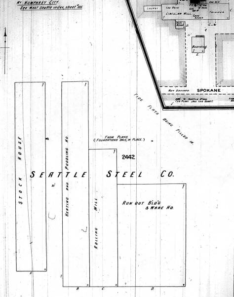 The footprint of the yet-to-be-build steel plan copied from the 1904 Kroll map.
