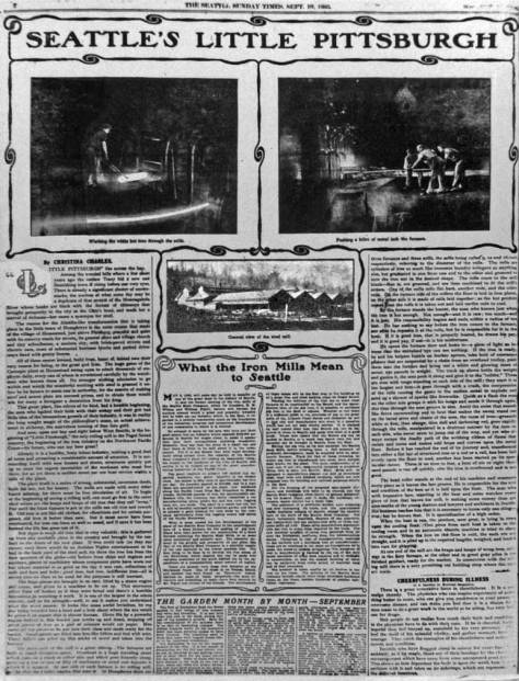 The Seattle Times 1905 celebration of the city's new manufacturer.  (This printing is included for the design and not the reading - it is too small.)