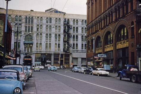 Another Gowey Kodachrome, and like another five images hire, this one was recorded on February 7, 1961.  The Seattle Hotel's cornice was a victim of the city's 1949 earthquake.  Note what I remember as the nifty Studebaker, parked on the right below the Jesus Saves sign.