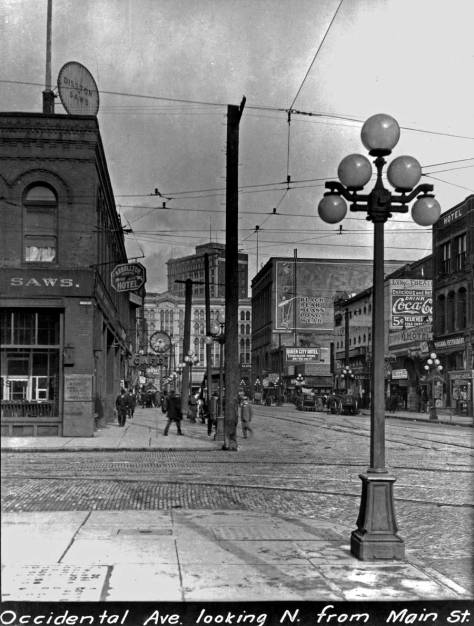 Looking north on Occidental thru Jackson Street, circa 1913.  (Courtesy, Municipal Archive)